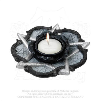 Alchemy Gothic The Vault Pentagram and Rose T-Light Candle Holder