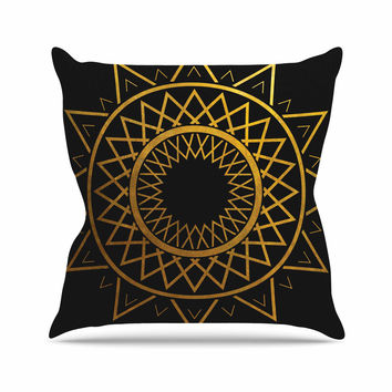 "Matt Eklund ""Gilded Sundial"" Gold Black Outdoor Throw Pillow"