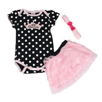 Baby girl 3 piece princess romper set (jumpsuit, skirt and head-band)