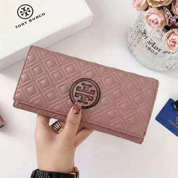 Tory Burch High Quality Popular Women Men Leather Leather Purse Wallet Pink