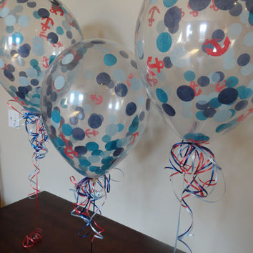 "HUGE! 16"" Nautical Theme Confetti Balloons : Wedding, Shower, Birthday, Baby, 1st Birthday, Pool, Picnic, Back to School, Party Decorations"