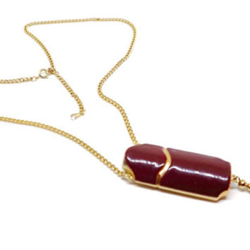 Vintage AVOn  Pendant,Tassel Necklace,Enamel Pendant Necklace,Vial Holder Pendant,Avon Jewelry,GoldTone & Burgundy Necklace,Unusual Necklace