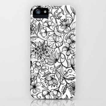 Hand drawn pencil floral pattern in black and white iPhone & iPod Case by micklyn