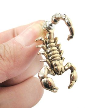 Fake Gauge Earrings: Realistic Scorpion Bug Shaped Front and Back Stud Earrings in Shiny Gold