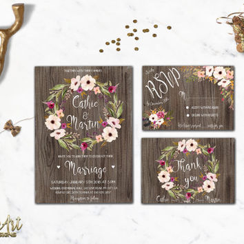 Rustic Bridal Shower Invitation Printable Floral Bridal Shower Invite Winter Bridal Shower Blush Pink Boho Chic Bridal Shower Digital File