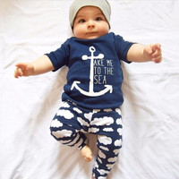 2pcs/Set Newborn Infant Baby Boys Girls Clothes Anchor Print Short Sleeve T-shirt Tops + Pant Toddler Summer Outfit Set 21