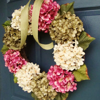 Summer Hydrangea Wreath - Summer Wreath - Front Door Wreath - Wreath for Door - Front Door Wreath -  Includes Complementary Wreath Hanger