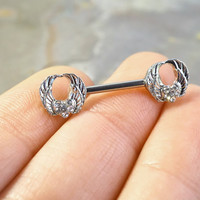 Double Angel Wing Nipple Bar Jewelry Barbell with Crystal Heart