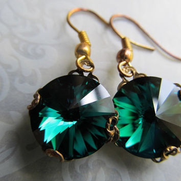 Green Crystal Earrings Emerald Wedding Earrings Gothic Earrings Green Bridal Earrings Victorian Earrings Filigree Earrings- Emerald Ice
