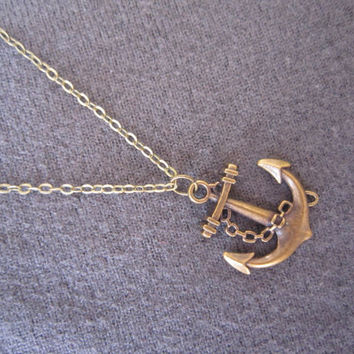 Long Layering Necklace, Copper Chain Necklace / Antiqued Bronze Anchor Pendant Necklace / Bridesmaid Gifts