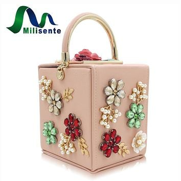 Milisente Brand New Design Box Flower Clutch Women Bag Wedding Purses Pearl Party Purse Ladies Evening Bags Day Clutches