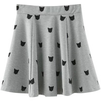 Gray Cat Silhouette Print Skater Skirt
