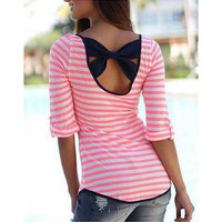 Butterfly Backless Stripes Half-sleeve T-shirts [7322413313]