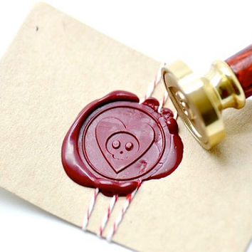 Skull Heart Love B20 Gold Plated Wax Seal Stamp x 1