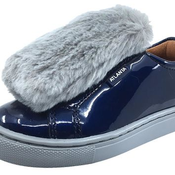 Atlanta Mocassin Girl's and Boy's Patent and Fur Slip-On Step-In Sneakers, Navy Patent/Grey Fur
