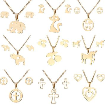 animal horse dragonfly Elephant Pendant necklace Earrings set Women Gold color Stainless Steel jewelry Set