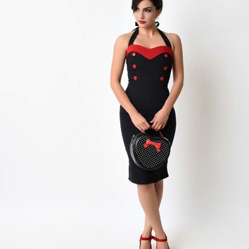 1950s Style Black & Red Sweetheart Halter Pin Up Wiggle Dress