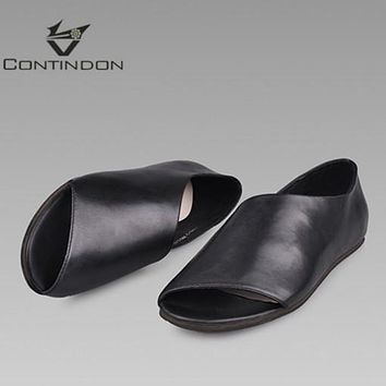 Contindon summer men's shoes, real leather Rome sandals, men's casual leather sandals, beach shoes tide