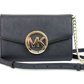 ONETOW Michael Kors Hudson Phone Crossbody Bag Purse Black