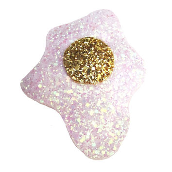Glitter Fried Egg Brooch and Hair Clip
