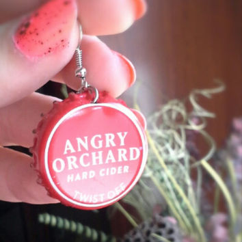 Angry Orchard Handmade Rockabilly-Girl Beer Bottle Cap Earrings