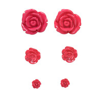 Fuchsia Rose Bud Post Earrings Set of 3