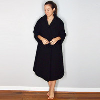Vintage Black Pea Coat, Wool Over Coat, 3/4 Sleeves, Medium Large, 1950s Opera Coat