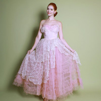 50s Pale Pink Cupcake PROM DRESS / Tulle & Lace Shelf Bust, Full Skirt, xs