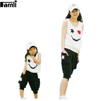 Matching Mother Daughter Clothes Sets Fashion Family Mom Girl 2pcs Outfits Mommy Me Summer Fashion Sleeveless Tshirt+short