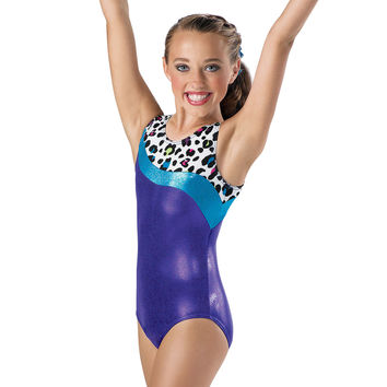 Metallic Cheetah Print Gymnastic Leotard; Balera