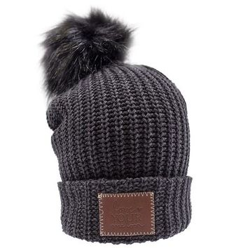 Smoke Speckled Pom Beanie (Black Pom) - Love Your Melon
