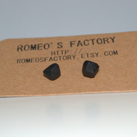 Geometric black clay bead earrings
