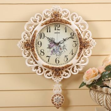 Round Pendulum Wall Clock Modern Mute Watch Large Wall Clocks Delicate Carved Patterns
