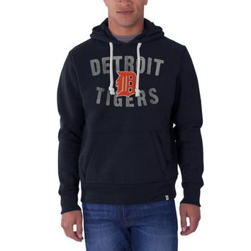 ONETOW MLB 47 Brand Detroit Tigers Men's Fall Navy Cross Check Pullover Hoodie