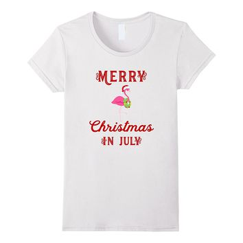 Merry Christmas In July Flamingo T-Shirt