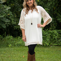 Curvy| Fields Of Floral Lace Dress - White