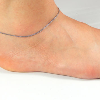 Simple silver anklet, simple wire anklet, silver chain anklet, one layer anklet, ankle bracelet, silver anklet