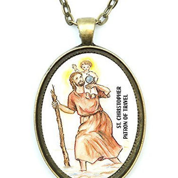 St Christopher Patron Saint of Travel Huge 30x40mm Antique Bronze Gold Pendant with Chain Necklace