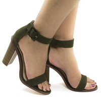 Bitsy6 Olive By Liliana, Casual Open Toe Ankle Cuff Block High Heeled Sandals