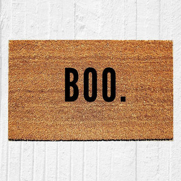 "BOO Halloween Doormat | Welcome Mat | Halloween Decor | Spooky Decor | Fall Decor | Outdoor Rug | 18""x30"" Coir Rug 