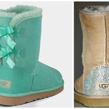 NEW - Ugg Surf Spray Bailey Bow Boots with Swarovski Crystal Bling Boot Heel - Mint Ug