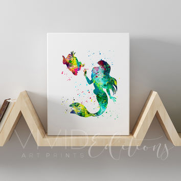 Ariel & Flounder, The Little Mermaid Gallery Wrapped Canvas