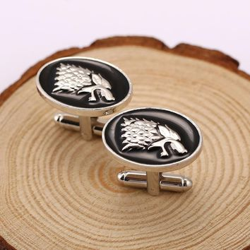 Movie Jewelry Game Of Throne Symbol House Stark Wolf Head Cufflink French Men Shirt Brand Cuff Buttons Cuff Links