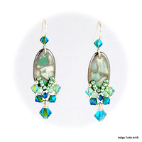 Beaded earrings feature Swarovski crystals & SS beads, soft green and white porcelain oval drop earrings with platinum trim and SS earwires