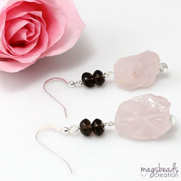 Rough Quartz Earrings, Pink Quartz Earrings, Statement Earrings, Rose Quartz Earrings, Bold, Chunky Quartz Stone Jewelry