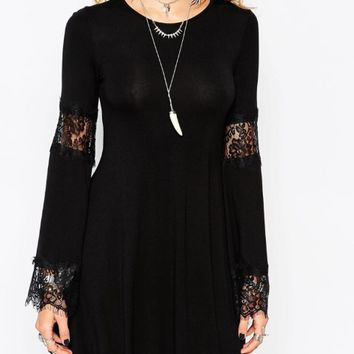 Lace Embroidered Flared Long Sleeve Mini Dress