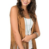 Fornia Women's Camel Faux Suede Braided Trim Long Fringe Sleeveless Vest