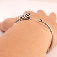 Animal Wrap Bracelet- Lazy Cat - White Bronze