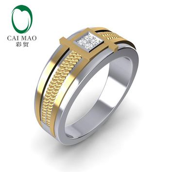 CaiMao 14K Two-Tone Gold 0.08ct Natural Diamond Twisted Rope Mens Wedding Band Ring