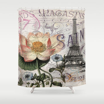 french scripts lotus floral vintage paris eiffel tower Shower Curtain by Chicelegantboutique